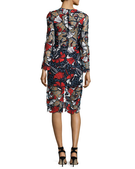 Amelie Floral Guipure Lace Midi Dress