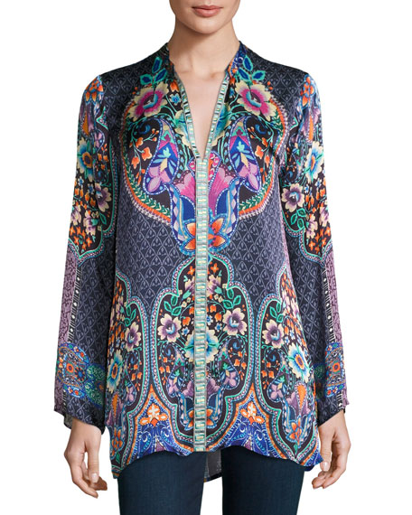 Johnny Was Collection Houstein Printed Charmeuse Tunic