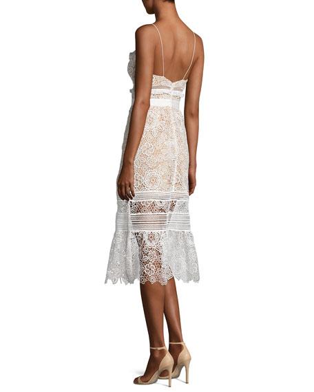 Sleeveless Floral-Lace Midi Dress, White