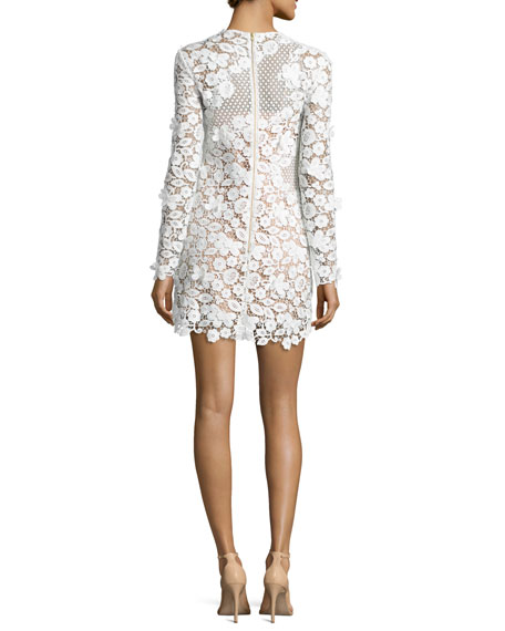 3D Floral-Lace Mini Dress, White