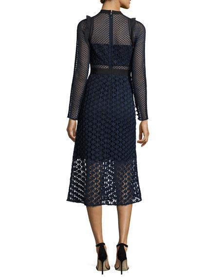 Star Lace Long-Sleeve Midi Dress, Navy