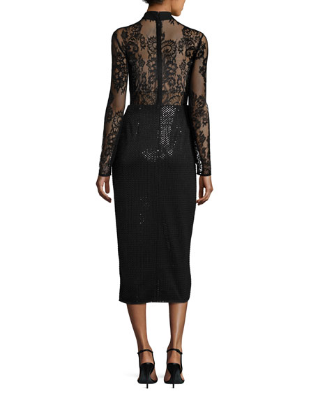 Floral Lace & Sequin Midi Dress