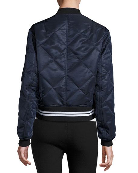 Vine Zip-Front Quilted Bomber Jacket, Black Best Reviews