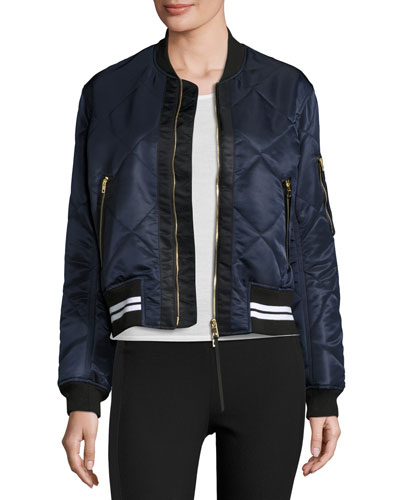 Vine Zip-Front Quilted Bomber Jacket, Black