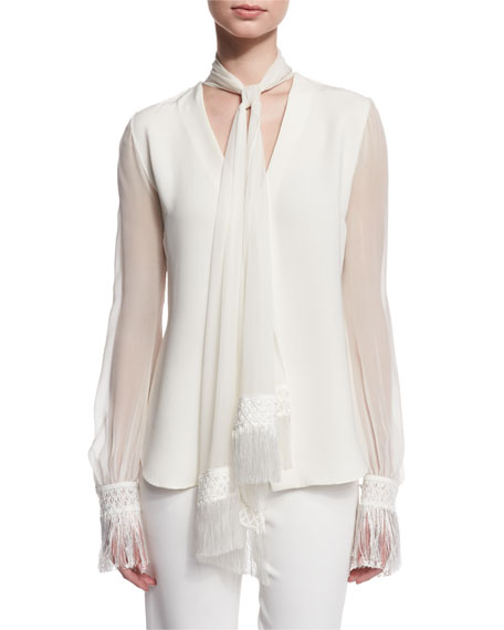 Scarf-Neck Silk Blouse w/Fringe Trim, Ivory
