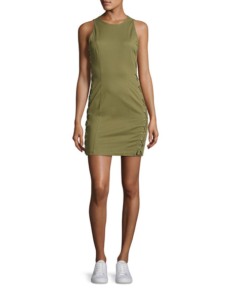 A.L.C. Valera Sleeveless Laced Twill Mini Dress, Sage