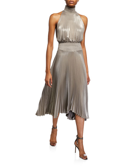 Renzo Pleated Jersey Midi Dress