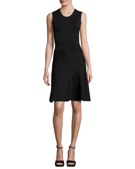 A.L.C. Este Sleeveless Fit-and-Flare Scuba Dress, Black
