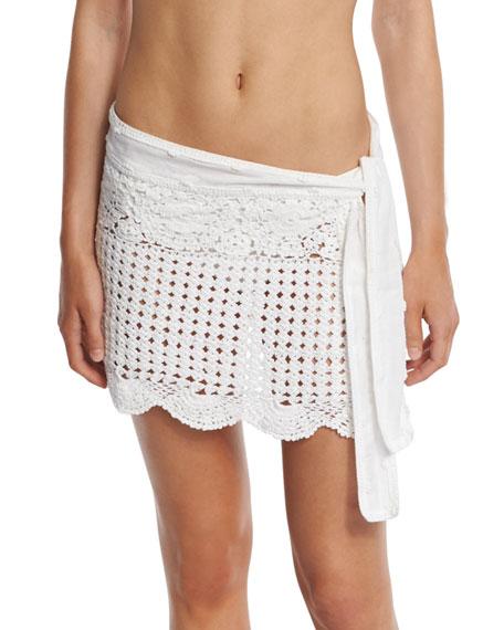 Letarte Crocheted Coverup Miniskirt, White