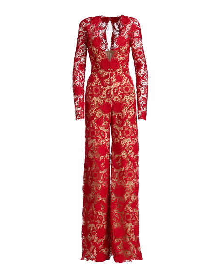 Long-Sleeve Plunging Lace Jumpsuit, Red