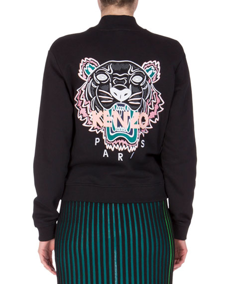 Icon Tiger-Embroidered Cotton-Jersey Sweatshirt, Black