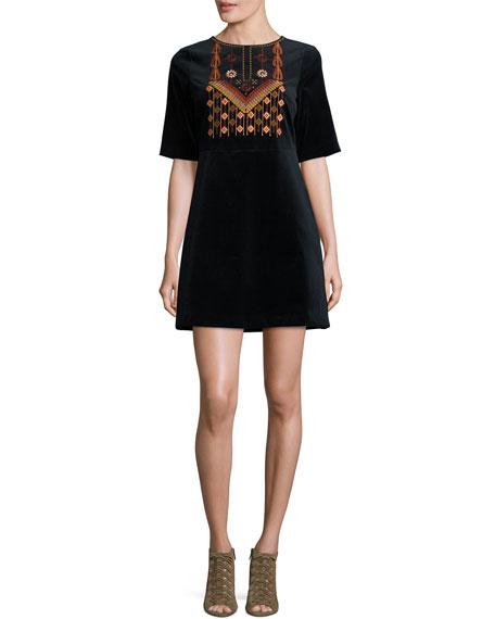 MiH Ezra Embroidered Velvet Dress