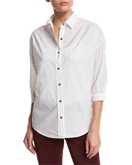 MiH Poets 3/4-Sleeve Shirt, Ink Stripe