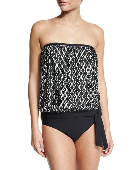 Athena Geo Oasis Callia Bandini Swim Top, Black