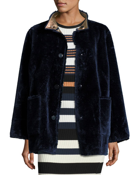 Opening Ceremony Culver Reversible Faux-Fur Coat Long-Sleeve