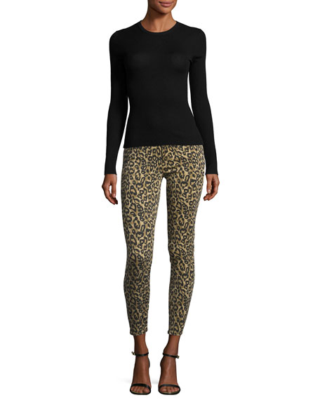 Alana High-Rise Skinny Ankle Jeans, Gold Leopard