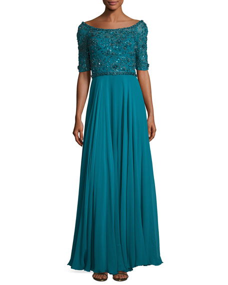 Jenny Packham Sequined Half-Sleeve Boat-Neck Gown, Emerald