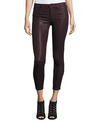 The Icon Coated Skinny Ankle Jeans, Deep Orchid