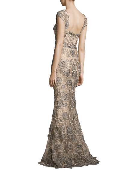 Cap-Sleeve Beaded Rose Gown, Gray