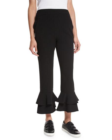 Crepe Ruffle-Hem Cropped Pants