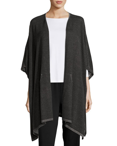 Plaited Peruvian Cotton Poncho, Charcoal