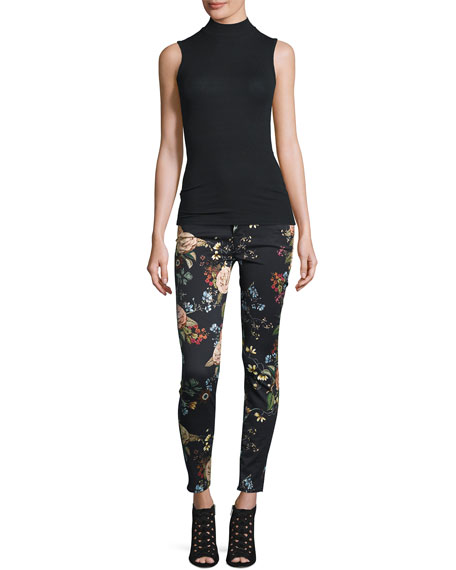 The Ankle Skinny Floral-Print Jeans, English Botanical