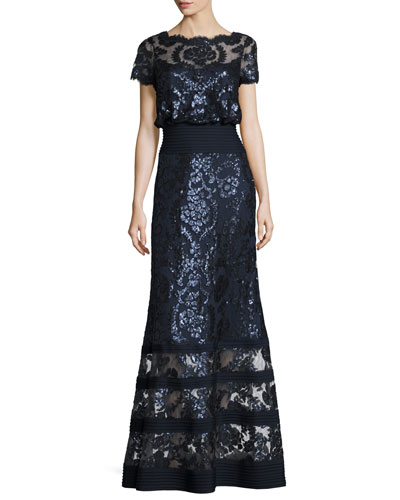 Short-Sleeve Embellished Tulle Blouson Gown, Navy
