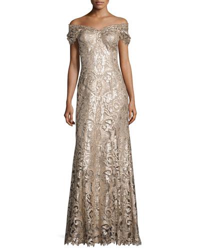 Off-the-Shoulder Embellished Lace Gown, Ginseng/Natural