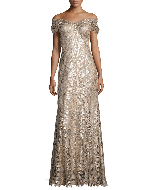 Tadashi Shoji Off-the-Shoulder Embellished Lace Gown, Ginseng ...