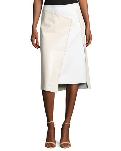 Asymmetric Leather Colorblock Skirt, Gesso