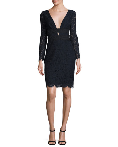 Diane von Furstenberg Viera Lace Long-Sleeve V-Neck Cocktail