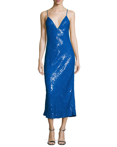 Diane von Furstenberg Havita Sequin-Embellished Midi Slip Dress,