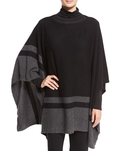 Striped Cashmere Bateau-Neck Poncho, Black