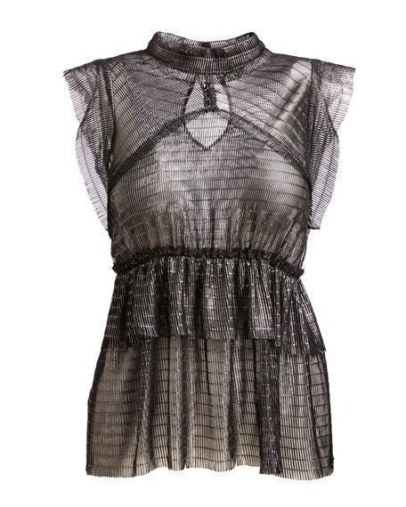 Anmari Sleeveless Tiered Metallic Top, Black/Silver