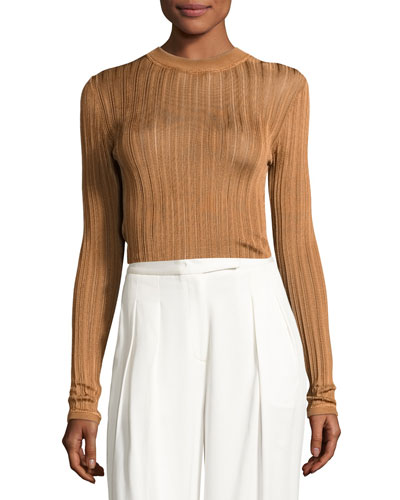 Sheer Stripe Jersey Pullover Sweater, Copper
