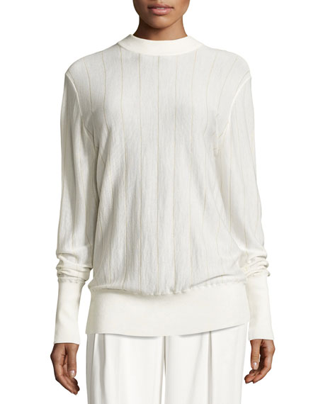 Long-Sleeve Pinstripe Wool-Blend Sweater, Gesso