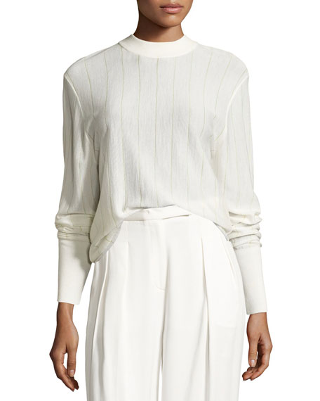 DKNY Long-Sleeve Pinstripe Wool-Blend Sweater, Gesso