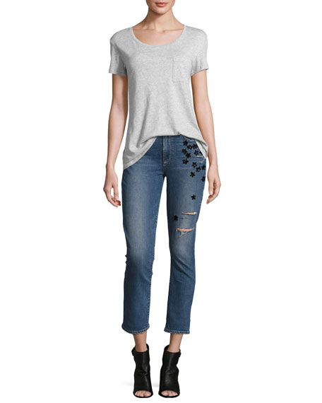 Jacqueline Star-Appliqué Cropped Straight-Leg Jeans, Jupiter Embellished