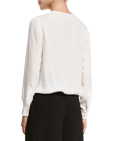 Marci Surplice Wrap Silk Blouse