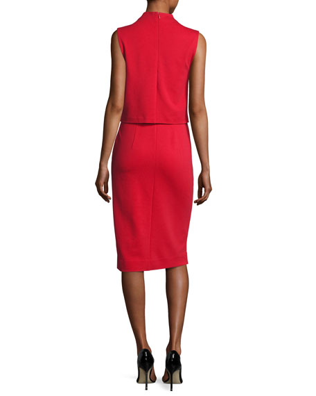 Tali Popover Sleeveless Sheath Dress, Scandal Red