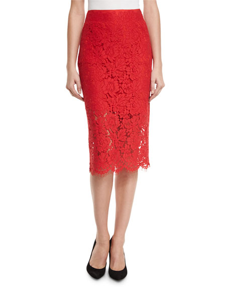 Glimmer Floral Lace Pencil Skirt