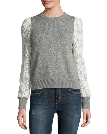 Lace-Sleeve Pullover, Heather Gray Price