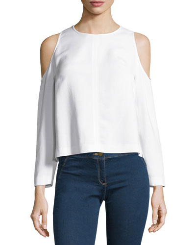 Knight Boxy Cold-Shoulder Blouse, Off White