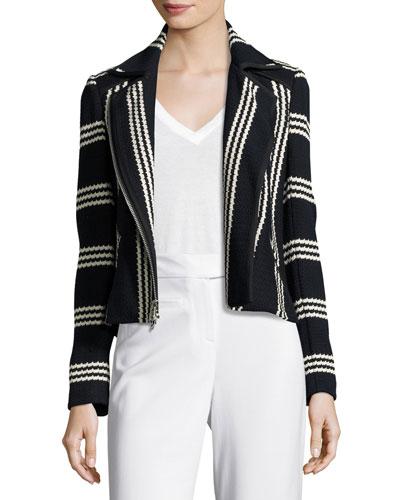 Bailey Striped Cotton Moto Jacket, Navy/White