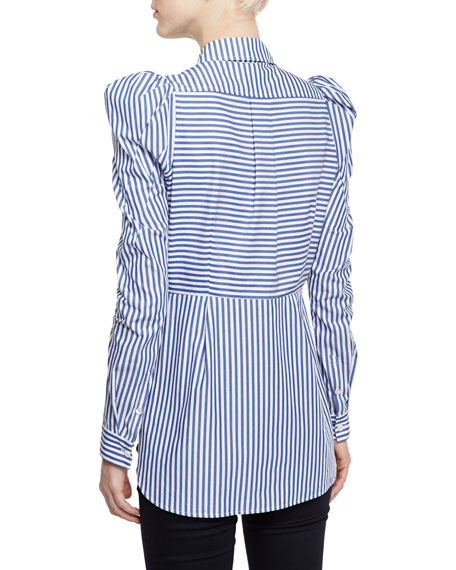 Candice Striped Fitted Blouse, Blue/White