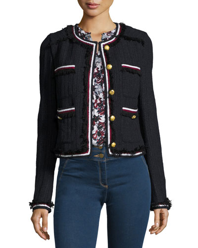Eclipse Cropped Tweed Jacket, Black