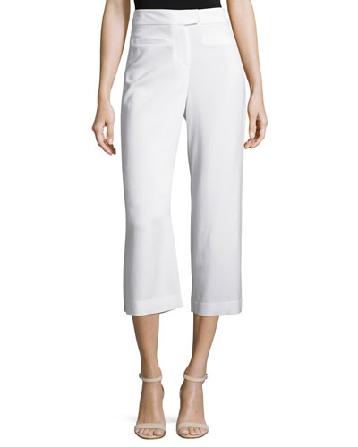 Lee Cropped Wide-Leg Pants, Off White
