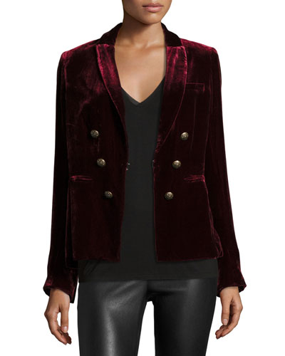 Velvet Faux-Double-Breasted Blazer, Wine