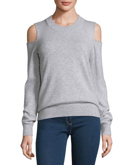 Central Melange Cold-Shoulder Cashmere Sweater, Fog