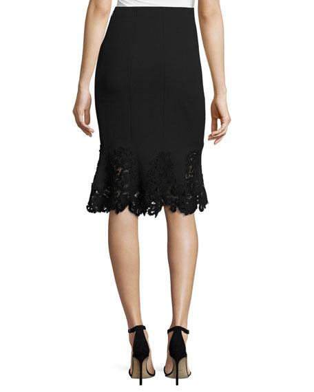 Pique Lace-Hem Flounce Skirt, Black